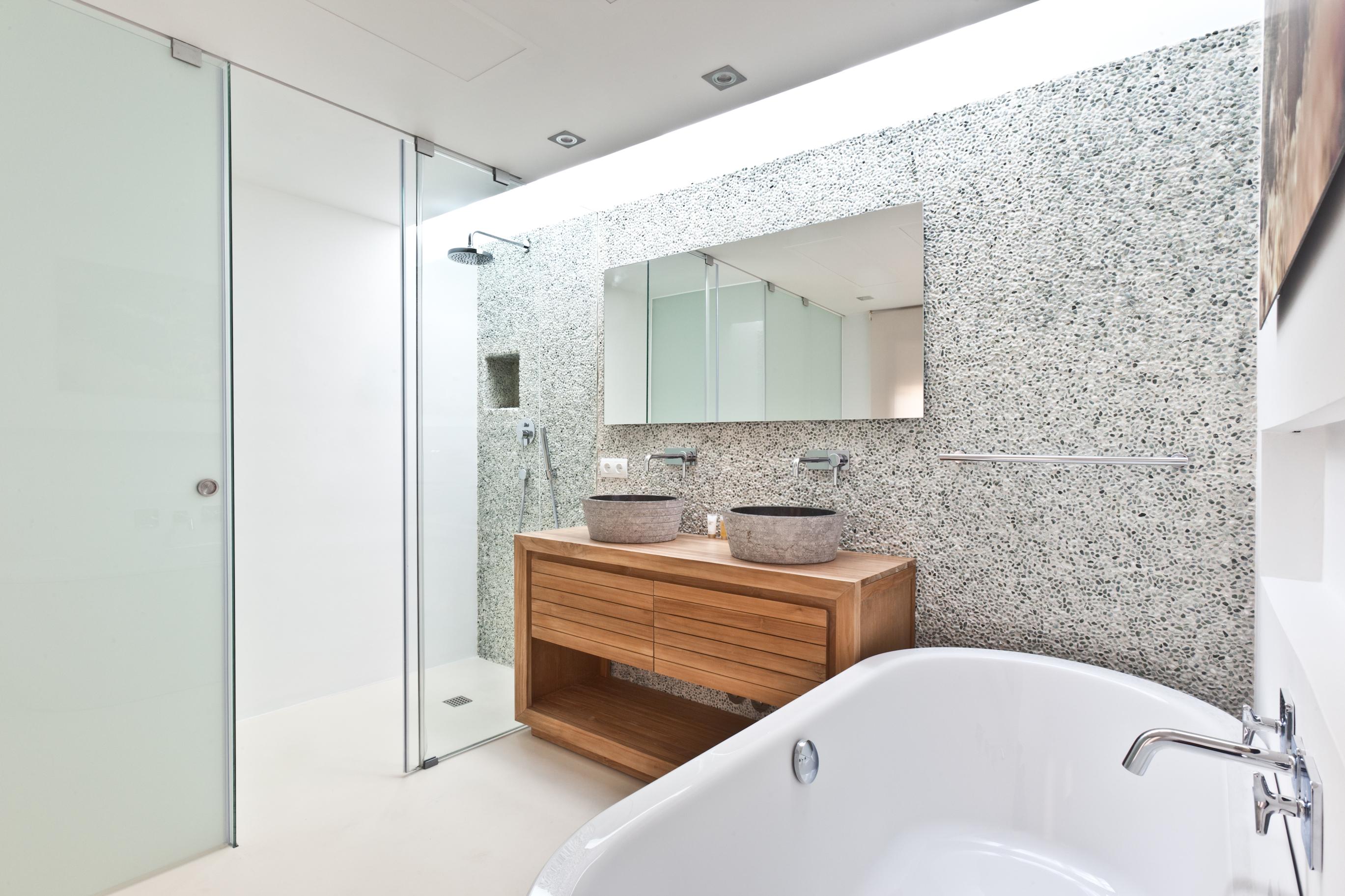 Mueble teka y lavabos marmol for Lavamanos de marmol